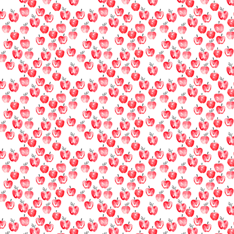(micro scale) watercolor apples - red  C18BS fabric by littlearrowdesign on Spoonflower - custom fabric