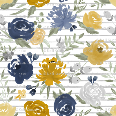 """Large Scale """"Navy & Mustard"""" Watercolor Floral on Gray Stripes"""