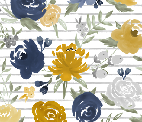 """Large Scale """"Navy & Mustard"""" Watercolor Floral on Gray Stripes fabric by sweeterthanhoney on Spoonflower - custom fabric"""