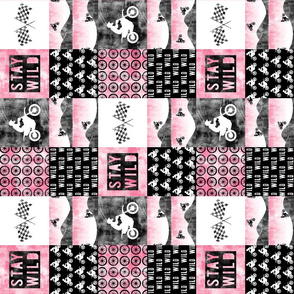 "(3"" small scale) Motocross Patchwork - Stay Wild - Pink (90)"