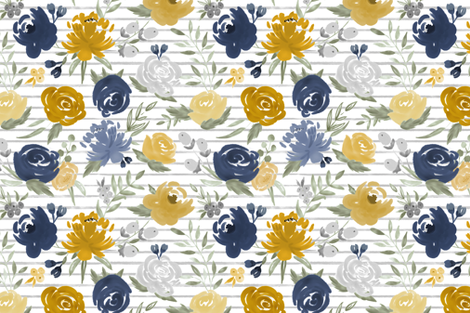 """Navy & Mustard"" Watercolor Floral on Gray Stripes fabric by sweeterthanhoney on Spoonflower - custom fabric"