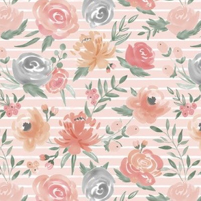 "Sm/Med Scale ""Soft Watercolor"" Floral on Soft Pink w/ White Stripes"