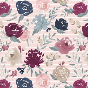"""Sm/Med Scale """"Sand Berry"""" Watercolor Floral on Soft Pink w/ White Stripes"""