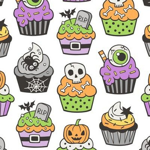 Halloween Fall Cupcakes on White