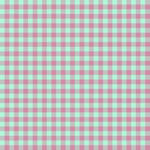 JP28 - Tiny Creamed Raspberry Pink and Minty Green buffalo plaid