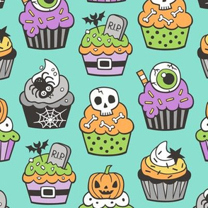 Halloween Fall Cupcakes on Mint Green