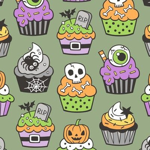 Halloween Fall Cupcakes on Olive Green