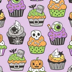 Halloween Fall Cupcakes on Light Purple Lilac