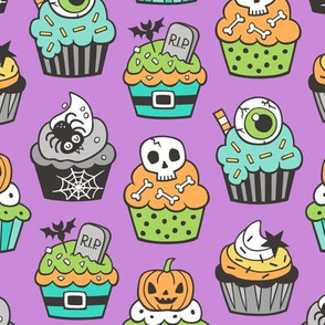 Halloween Fall Cupcakes on Purple