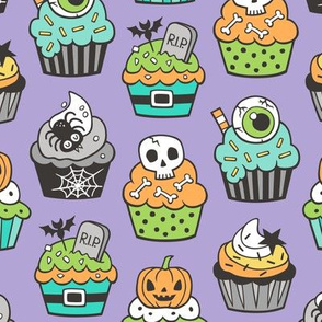 Halloween Fall Cupcakes on Lavender Purple