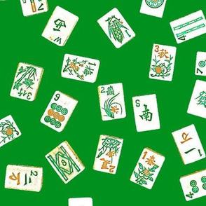 mah jongg tiles green