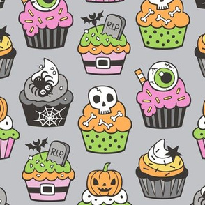 Halloween Fall Cupcakes Pink on Grey