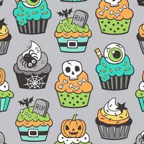 Halloween Fall Cupcakes on Green Mint on Grey