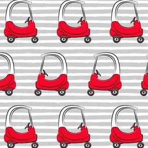 kids toy car on grey stripe