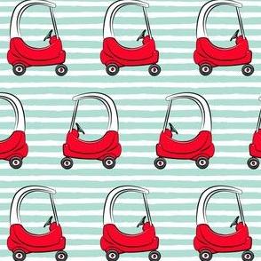 kids car on aqua stripes