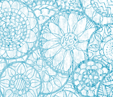 Blue and White Mandala Flowers - XL fabric by lyddiedoodles on Spoonflower - custom fabric