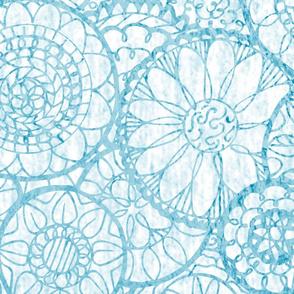 Blue and White Mandala Flowers - XL