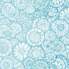 Blue and White Mandala Flowers