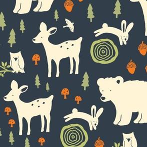 Forest Animals - dark blue