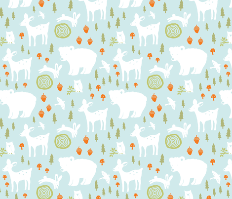 Forest Animals - light blue fabric by olive&me_studios on Spoonflower - custom fabric