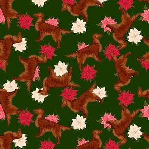 Irish Setter and Poinsettia Allover Christmas Scatter