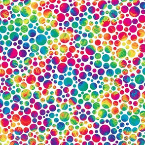 crazy rainbow dots on white - half size