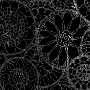 White and Black Mandala Flowers