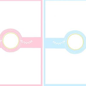 monogram blank for YARD 54 -  pair pink blue
