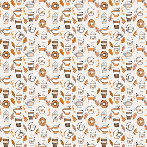 pumpkin spice latte fabric coffee and donuts fall autumn traditions off-white - MINI version fabric by andrea_lauren on Spoonflower - custom fabric