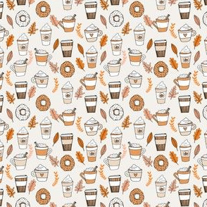pumpkin spice latte fabric coffee and donuts fall autumn traditions off-white - MINI version