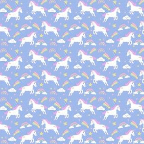 unicorn bright colors fabric rainbow clouds stars cute girls unicorn fabric pink- MICRO print