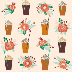pumpkins floral autumn LARGE  version cute girls latte coffee drinks autumn flowers cute girls coffee design mini version