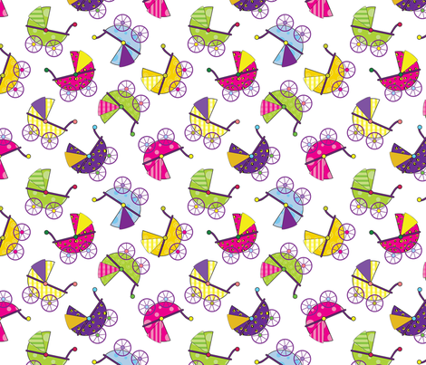 Colorful Baby Carriages-ed fabric by donnamarie on Spoonflower - custom fabric
