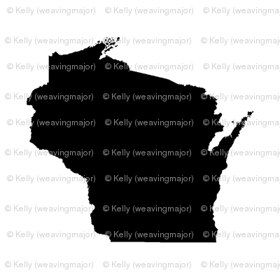 """itty bitty 1"""" Wisconsin silhouettes, black and white, staggered"""
