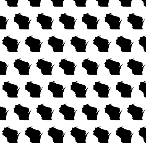"""itty bitty 1"""" Wisconsin silhouettes, black and white, staggered fabric by weavingmajor on Spoonflower - custom fabric"""