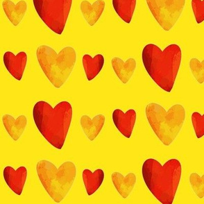 Red and Gold Hearts on Yellow - Mexican Food Coordinate