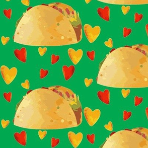 I Love Tacos on Green