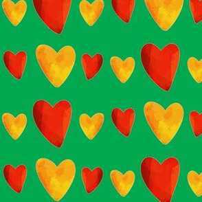 Red and Gold Hearts on Green - Mexican Food Coordinate