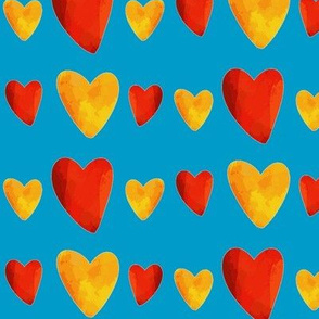 Red and Gold Hearts on Blue - Mexican Food Coordinate