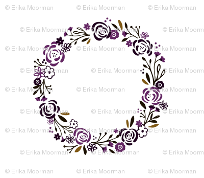 monogram blank centered - Plumb spice 14 shabby chic rose wreath