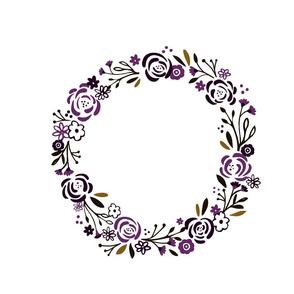 monogram blank centered - Plumb spice 14 shabby chic rose wreath