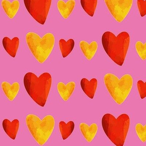 Red and Gold Hearts on Pink - Mexican Food Coordinate