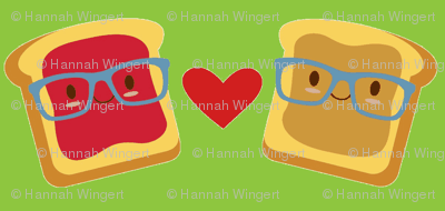 Smart Peanut Butter and Jelly Sandwich on Green