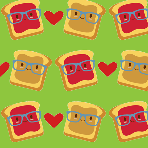Smart Peanut Butter and Jelly Sandwich on Green fabric by sunshineandspoons on Spoonflower - custom fabric