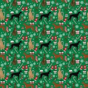 SMALL - Greyhound christmas fabric - cute dog breed design with presents, candy canes, food, xmas holiday fabric