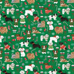 SMALL - dog christmas fabric - dogs in ugly sweaters, christmas, xmas, holiday design