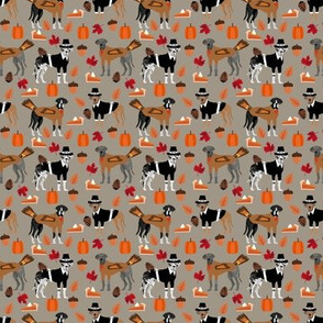 SMALL - Great Dane thanksgiving fabric - pies, pumpkin,fall, autumn, cute dogs design