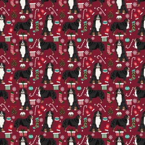 SMALL - Bernese Mountain Dog christmas fabric - cute dog breed design with presents, candy canes, food, xmas holiday fabric