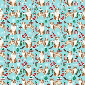 SMALL - Aussie  christmas fabric - cute dog breed design with presents, candy canes, food, xmas holiday fabric