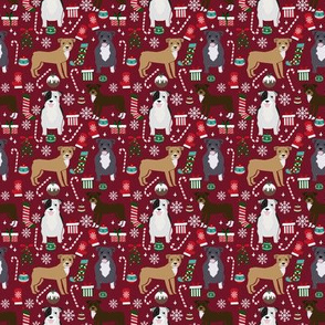 SMALL - Pitbull christmas fabric - cute dog breed design with presents, candy canes, food, xmas holiday fabric